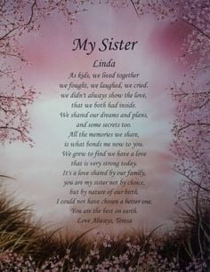 Personalized sister poem gift for birthday, christmas or wedding day