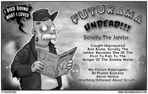 Zombie Scruffy the janitor Futurama undead