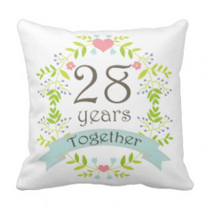 28th Anniversary Gift Throw Pillow