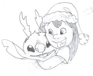 christmas themed picture of lilo and stitch i was