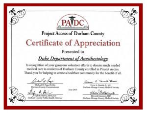 Duke Anesthesiology Receives PADC Appreciation Award