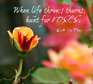 When life throws thorns; hunt for roses. ~Until She Flies