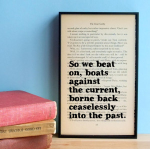The Great Gatsby quote 'So we beat on' vintage book page framed print