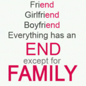 Friend, Girlfriend, Boyfriend everything has an End except for Family
