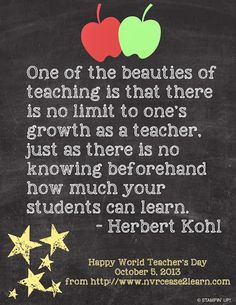 ... no knowing beforehand how much your students can learn. -Herbert Kohl