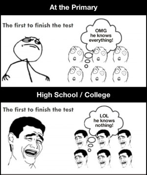 funny first to finish test school