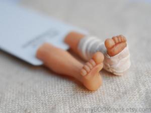 Broken leg in the book. Unusual art bookmark. Funny gift for children ...