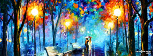 "Rainy Night - romantic oil painting with lovers "" Facebook Cover ..."