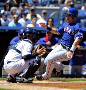 May 23, 2015; Bronx, NY, USA; Texas Rangers left fielder Jake ...