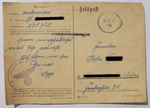 Feldpostkarte mit der Feldpostnummer 31795 entsprechend dem