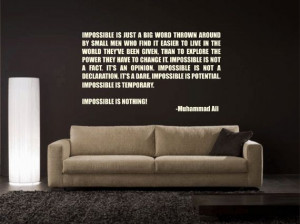 Muhammad Ali Impossible is Nothing inspirational quote vinyl wall ...