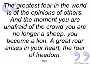 imagem the greatest fear in the world is of the osho