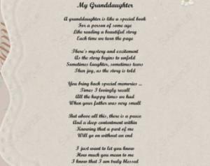 Granddaughter Poem Love Poem 8 X 10 Print INSTANT Download - On Sale!!