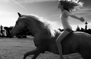 on a horseback it is a beautiful girl on a beautiful horse both having ...
