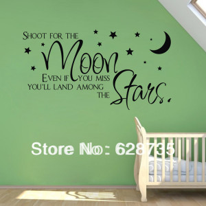 sale on ebay shoot for the moon.stars quote wholesale wall stickers ...