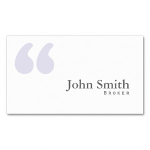 Simple Quotes Real Estate Broker Business Card