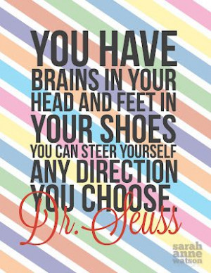 ... Seuss. –One of my favorite quotes by him. Oh the places you'll go