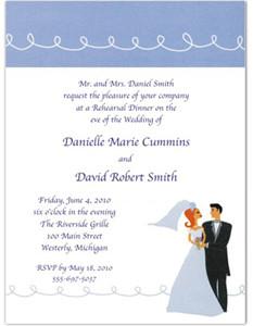 Contemporary Couple Wedding Rehearsal Dinner Invitations