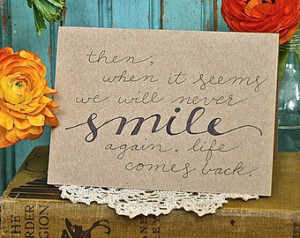 Sympathy Loss Encouragement Quote Greeting Card (Blank Inside) - Kraft