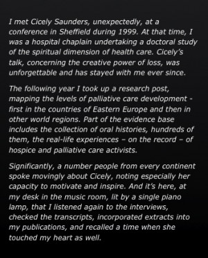 in Sheffield during 1999. At that time, I was a hospital chaplain ...