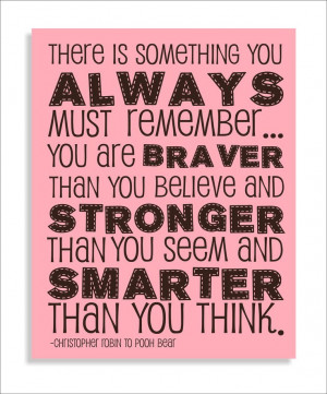 Pooh Bear Brave Quote Modern Art Print Typography, Nursery wall decor ...