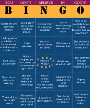 Atheist Bingo. Very Funny!