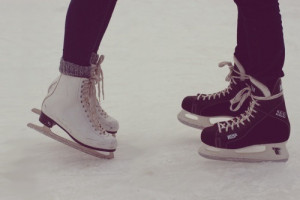 cold, couple, ice, ice-skating, kissing, like, love, winter