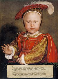 Painting of Prince Edward as a baby, depicted with regal splendour and ...