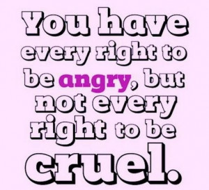... every right to be angrybut not every right to be cruel attitude quote