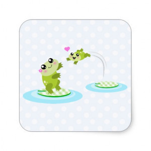 Cute frogs - kawaii mom and baby frog cartoon square sticker