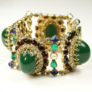 Hattie Carnegie Rubies Pearls Rhinestones and Emerald Cabochons Wide ...