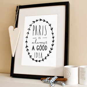 A4 Paris Print - Audrey Hepburn Quote - Paris is always a good idea