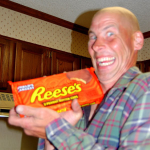 Kevin comes home with his prize...two whole pounds of Reese's Cups!!!