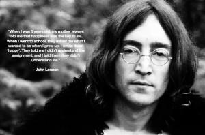 John Lennon Quote Happy