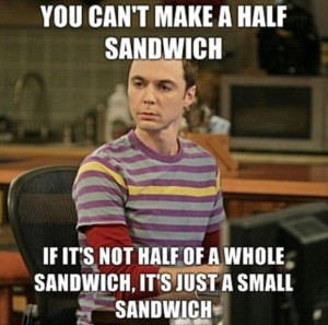 Funny Big Bang Theory Pictures - Half a sandwich - Sheldon Cooper