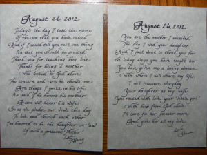 Both poems. From Bride on left and from the Groom on the Right. Both ...