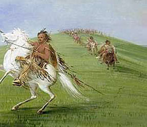 Watercolor of Indians on horseback (George Catlin). Courtesy of ...