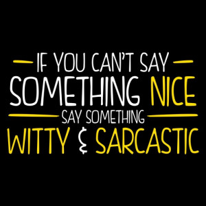 IF YOU CAN'T SAY SOMETHING NICE, SAY SOMETHING WITTY & SARCASTIC T ...