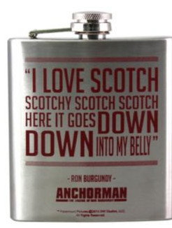 """Love Scotch…"""" Anchorman Ron Burgundy Hip Flask by Keep Calm and ..."""