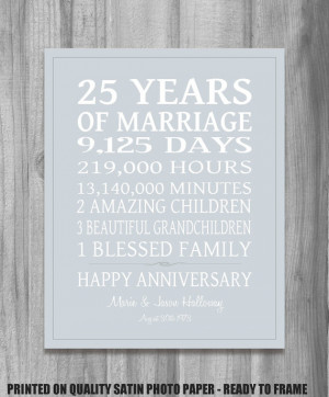 SILVER 25th Anniversary Gift Personalized Our Life Story Stats ...
