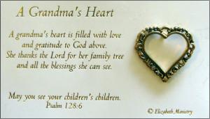 Grandma Poems For Funeral Pin - a grandma's heart - poem