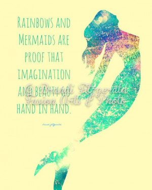 ... and Mermaids Inspirational Quote Bold by BrandiFitzgerald, $20.00