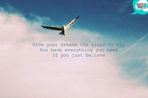 Wings to fly dream big picture quote
