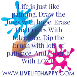 Life is just like painting. Draw the lines with hope. Erase The errors ...