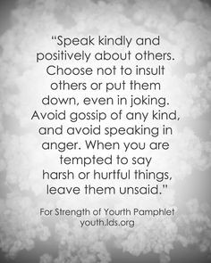 LDS Quote: For the Strength of Youth #goodlanguage #ldsyouth # ...