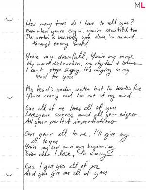 ... Quotes, John Legends Quotes, All Of Me John Legend Lyrics, All Of Me