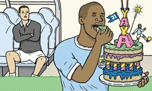 Yaya Toure and birthday cake Photograph: Matt Johnstone for the ...