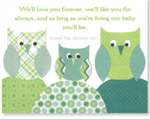 Love you forever nursery quote owl nursery art green and teal nursery ...
