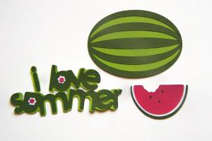Die Cut Watermelon I Love Summer Tags Card Toppers3pcs