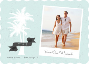 White Palm Tree Beach Save The Date Announcement by PurpleTrail.com.